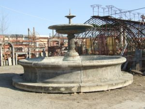 Center fountain in salvaged stone complete