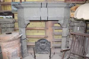Corner fireplace in stone