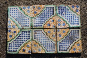 Antique blue and green majolica