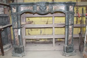 Ancient Bardiglio marble fireplace