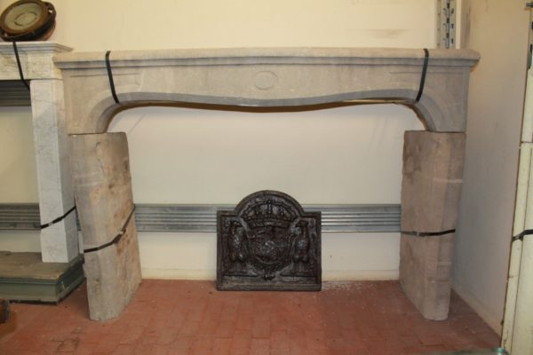 Ancient limestone fireplace