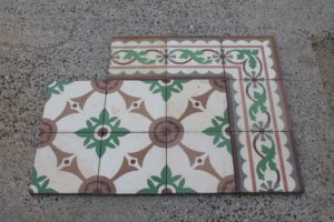 Floor with green and brown geometric design