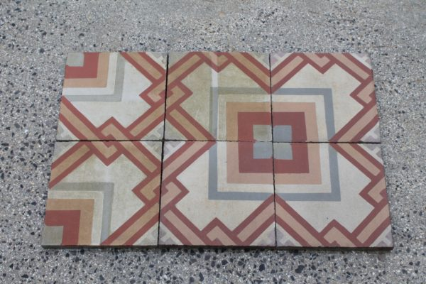 Pastina floor with red and yellow geometric design
