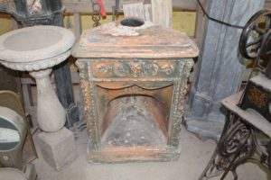 Angular terracotta fireplace